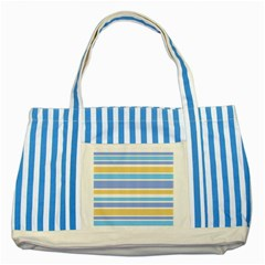 Blue Yellow Stripes Striped Blue Tote Bag by BrightVibesDesign