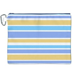Blue Yellow Stripes Canvas Cosmetic Bag (xxxl)  by BrightVibesDesign