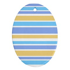 Blue Yellow Stripes Oval Ornament (two Sides) by BrightVibesDesign