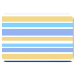 Blue Yellow Stripes Large Doormat  by BrightVibesDesign