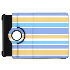 Blue Yellow Stripes Kindle Fire Hd Flip 360 Case by BrightVibesDesign