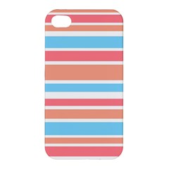 Orange Blue Stripes Apple Iphone 4/4s Premium Hardshell Case by BrightVibesDesign