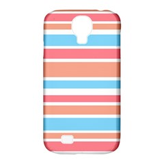 Orange Blue Stripes Samsung Galaxy S4 Classic Hardshell Case (pc+silicone) by BrightVibesDesign