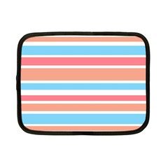 Orange Blue Stripes Netbook Case (small)  by BrightVibesDesign
