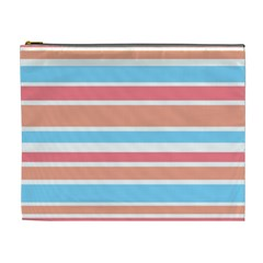 Orange Blue Stripes Cosmetic Bag (xl) by BrightVibesDesign
