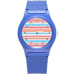Orange Blue Stripes Round Plastic Sport Watch (s) by BrightVibesDesign
