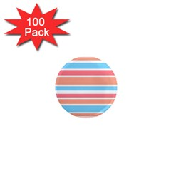 Orange Blue Stripes 1  Mini Magnets (100 Pack)  by BrightVibesDesign