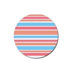 Orange Blue Stripes Rubber Coaster (round)  by BrightVibesDesign