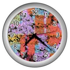 Paint Texture                                     			wall Clock (silver) by LalyLauraFLM