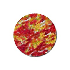 Colorful Splatters                                      			rubber Round Coaster (4 Pack) by LalyLauraFLM