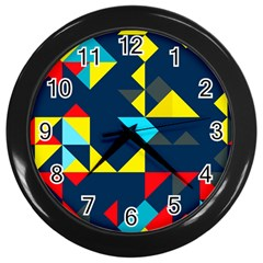 Colorful Shapes On A Blue Background                                        wall Clock (black) by LalyLauraFLM