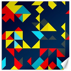 Colorful Shapes On A Blue Background                                        canvas 12  X 12  by LalyLauraFLM