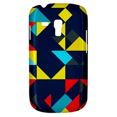 Colorful Shapes On A Blue Background                                        samsung Galaxy S3 Mini I8190 Hardshell Case by LalyLauraFLM