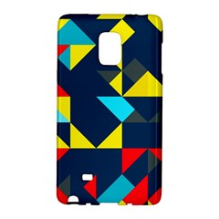 Colorful shapes on a blue background                                        			Samsung Galaxy Note Edge Hardshell Case by LalyLauraFLM