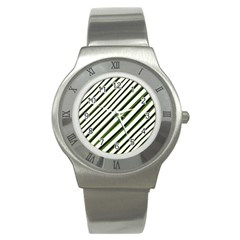 Diagonal Stripes Stainless Steel Watch by dflcprints