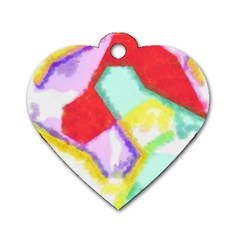 Watercolors Shapes                                         			dog Tag Heart (one Side) by LalyLauraFLM