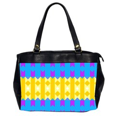 Rhombus And Other Shapes Pattern                                          Oversize Office Handbag (2 Sides) by LalyLauraFLM