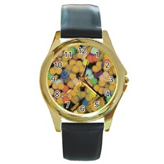 Paint Brushes                                          			round Gold Metal Watch by LalyLauraFLM