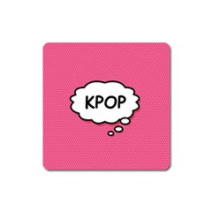 Comic Book Think Kpop Pink Square Magnet by ComicBookPOP