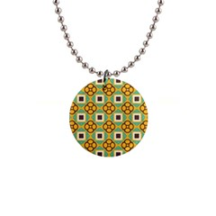 Flowers And Squares Pattern                                            			1  Button Necklace by LalyLauraFLM