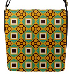 Flowers And Squares Pattern                                            flap Closure Messenger Bag (s) by LalyLauraFLM