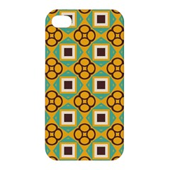 Flowers And Squares Pattern                                            			apple Iphone 4/4s Premium Hardshell Case by LalyLauraFLM