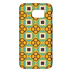 Flowers And Squares Pattern                                            samsung Galaxy S6 Hardshell Case by LalyLauraFLM
