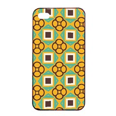 Flowers And Squares Pattern                                            			apple Iphone 4/4s Seamless Case (black) by LalyLauraFLM