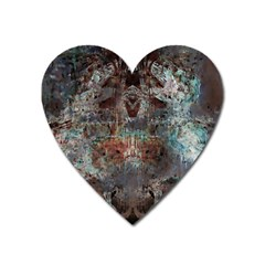 Metallic Copper Patina Urban Grunge Texture Magnet (heart) by CrypticFragmentsDesign