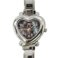 Metallic Copper Patina Urban Grunge Texture Heart Italian Charm Watch by CrypticFragmentsDesign