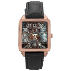 Metallic Copper Patina Urban Grunge Texture Rose Gold Leather Watch  by CrypticFragmentsDesign