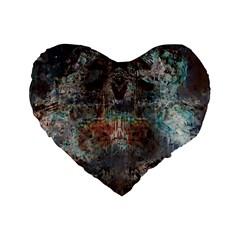 Metallic Copper Patina Urban Grunge Texture Standard 16  Premium Flano Heart Shape Cushion  by CrypticFragmentsDesign