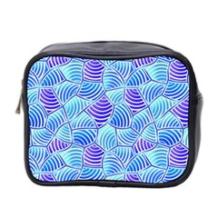 Blue And Purple Glowing Mini Toiletries Bag 2 Side by FunkyPatterns