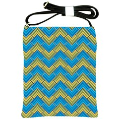 Blue And Yellow Shoulder Sling Bags by FunkyPatterns