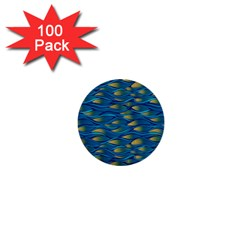 Blue Waves 1  Mini Buttons (100 Pack)  by FunkyPatterns