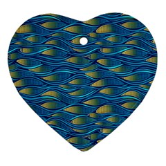 Blue Waves Heart Ornament (2 Sides) by FunkyPatterns