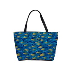 Blue Waves Shoulder Handbags by FunkyPatterns