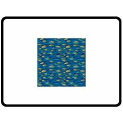 Blue Waves Fleece Blanket (large)  by FunkyPatterns
