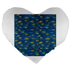 Blue Waves Large 19  Premium Heart Shape Cushions by FunkyPatterns