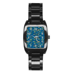 Blue Waves Stainless Steel Barrel Watch by FunkyPatterns