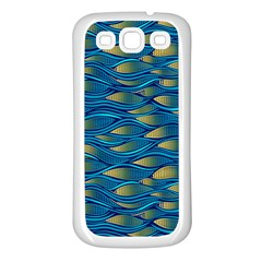 Blue Waves Samsung Galaxy S3 Back Case (white) by FunkyPatterns