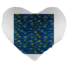 Blue Waves Large 19  Premium Flano Heart Shape Cushions by FunkyPatterns