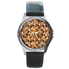 Brown Tiles Round Metal Watch by FunkyPatterns