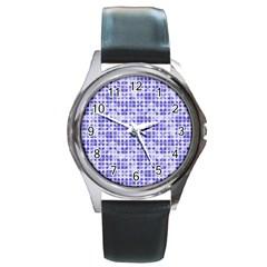 Pastel Purple Round Metal Watch by FunkyPatterns