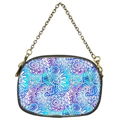 Boho Flower Doodle On Blue Watercolor Chain Purses (One Side)  by KirstenStar