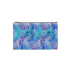 Boho Flower Doodle On Blue Watercolor Cosmetic Bag (small)  by KirstenStar
