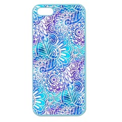 Boho Flower Doodle On Blue Watercolor Apple Seamless Iphone 5 Case (color) by KirstenStar