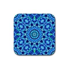 Blue Sea Jewel Mandala Rubber Square Coaster (4 Pack) by Zandiepants