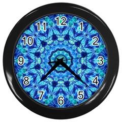 Blue Sea Jewel Mandala Wall Clock (black) by Zandiepants