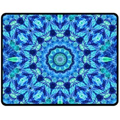 Blue Sea Jewel Mandala Double Sided Fleece Blanket (Medium) by Zandiepants